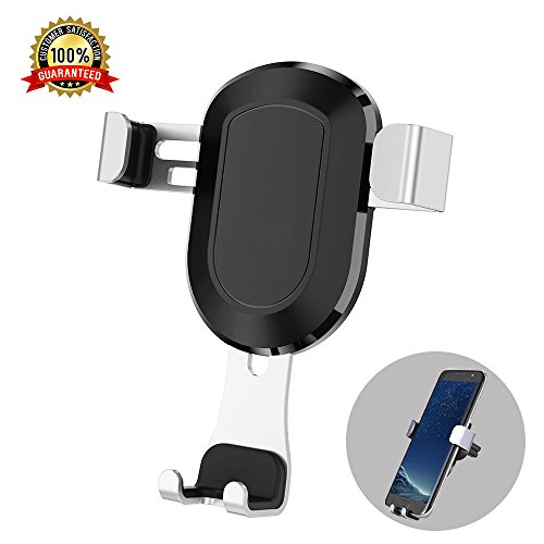 Car Phone Holder, Air Vent Phone Mount for Car Gravity Auto-Clamping 360 Adjustable Car Cradle for iPhone Samsung and All 4  to 6  Smart Phones (Silver)