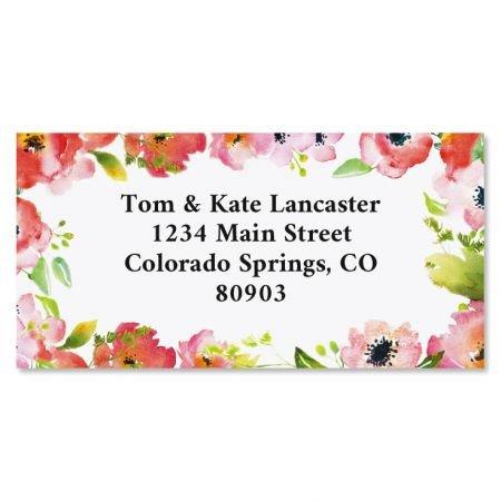 Blushing Garden Floral Return Address Labels - Set of 144 1-1/8 x 2-1/4 Self-Adhesive, Flat-Sheet flower labels - Flowers Return Address Labels