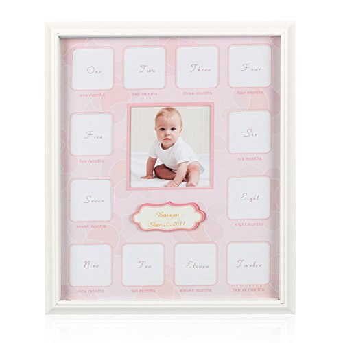 Baby Growth Collage | Prime Grade Wood and Glass Baby 12-Month Timeline Picture Frame of Memory and Moment for Baby's First Year Keepsake | 13 Options Fits One 3.7