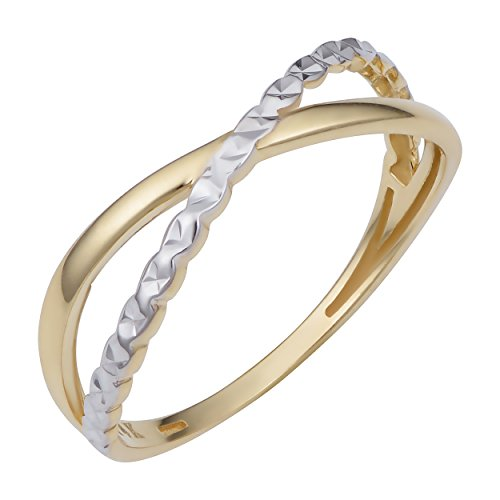 14k Two-Tone Gold Criss Cross X Ring (size 6)