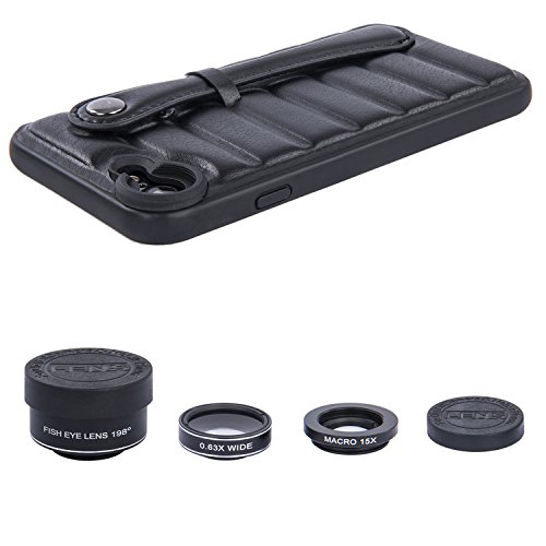iPhone 7 / iPhone 8 Case Separate 3 HD Camera Lens Kits, Joylink 1pc Dual Layer Case with Hand Strap Holder, 1pc Fisheye Lens 198 Degrees, 1pc Wide Angle Lens 120 Degrees, 1pc Macro Lens 15X