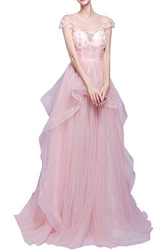 La_Marie Braut Romantisch Rosa Spitze Cocktailkleider Abendkleider Abiballkleider Bodenlang A-linie Rock