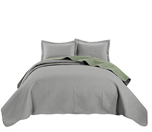 Chezmoi Collection Mesa 3-Piece Oversized Reversible Bedspread Coverlet Set (King, Gray/Sage)