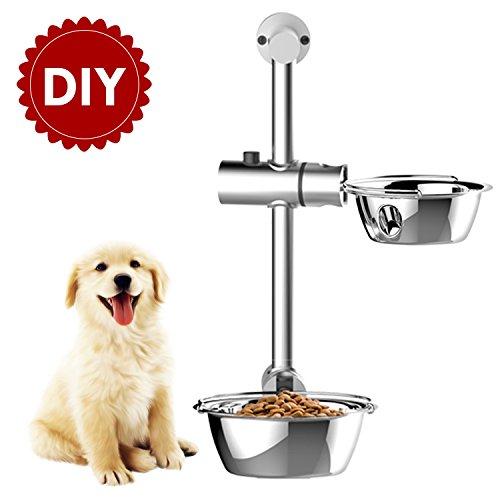 WOWGO Elevated Double Dog Bowls, Adjustable DIY Raised Dog Feeder Large Dog Bowls with Two Sizes Dog Food Dishes for Dog Cat