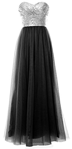 Wedding Silver Bridesmaid Sequin MACloth Black Long Gown Formal Women Party Strapless Dress HYqYvgExw1