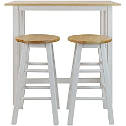 Casual Home 3-Piece Breakfast Set with Solid American Hardwood Top, White