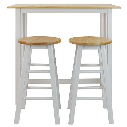 Casual Home 3-Piece Breakfast Set with Solid American Hardwood Top, White (Pub Table Breakfast)