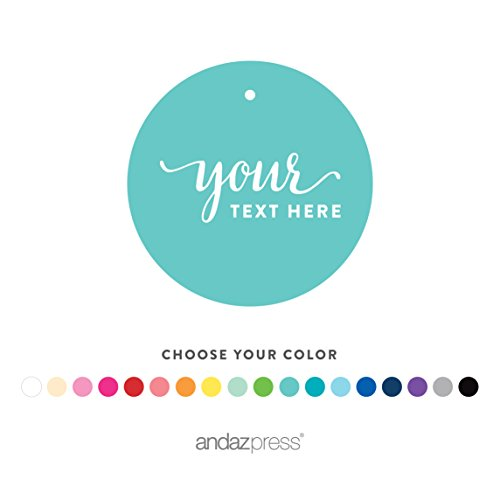 Andaz Press Fully Personalized Collection, Round Circle Gift Tags, Custom Made Any Name, Your Text Here, 24-Pack, For Presents, Gifts, Favors, Boxes, and Treat Bags