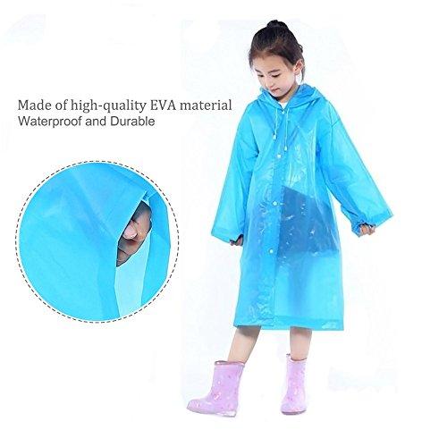 DEWEL Rain Poncho 4 Pack Reusable Eva Raincoat Hat Adult Children Outdoor (Children) by DEWEL (Image #3)