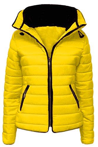 forrado acolchada Inc con chaqueta Vanilla mujer Lemon invierno de con para capucha cuello cremallera 17xIxqaw