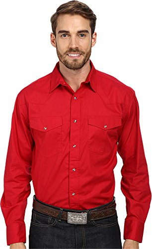 Roper Men's L/S Solid Basic Snap Front Red XX-Large ()