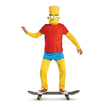 The Simpsons Bart Simpson Deluxe Costume, Red/Yellow/Blue, Medium/7-8