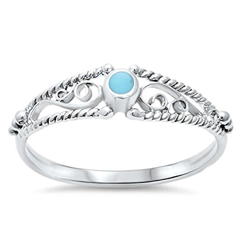 Blue Apple Co. Petite Dainty Fashion Ring Round Filigree Swirl Simulated Turquoise 925 Sterling Silver