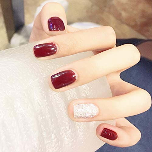 Aegenacess 24Pcs False Nails Short Square Fake Design Wine Red Silver Shiny Press On Gel Nail Acrylic Artificial Manicure Halloween Tips French With Two Double Sided Stickers for Women and Girls -