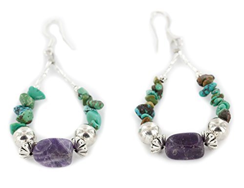 Native-Bay Authentic Made by Charlene Little Silver Hooks Dangle Natural Turquoise Amethyst Hoop American Earrings
