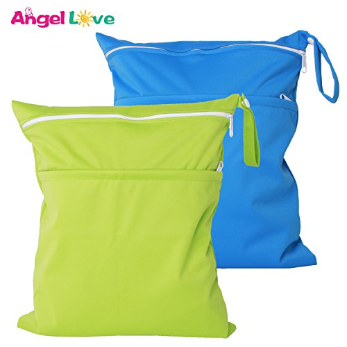 Wet Bags, Angel Love 2 Pack Baby Cloth Diaper Wet/Dry Bags with Two Zippered Pockets, Travel, Beach, Pool, Gym Bag for Swimsuits or Wet Clothes, Waterproof Washable Reusable, L0109 ()