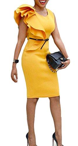Les Volants Sans Manches Pour Femmes Cromoncent Crayon Couleur Pure Forme Mince Robe Moulante Encolure Ras Du Cou Jaune