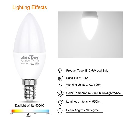 Ascher E12 LED Candelabra Light Bulbs, Equivalent 60W, 550LM, Daylight White 5000K, Candelabra Base, Non-dimmable, Chandelier Bulb, Pack of 5 by Ascher (Image #2)