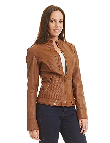 CTC WJC747 Womens Dressy Vegan Leather Biker Jacket S Camel