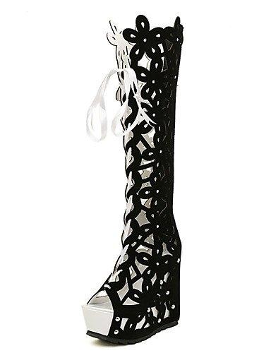 GGX/ Zapatos de mujer-Tacón Cuña-Cuñas-Tacones-Casual-Vellón-Negro / Blanco , white-us8 / eu39 / uk6 / cn39 , white-us8 / eu39 / uk6 / cn39 white-us8 / eu39 / uk6 / cn39