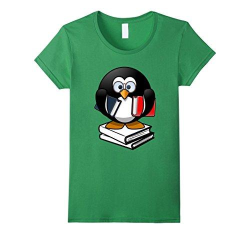 Women's Penguin Shirt Love Books Glasses Geek Funny Gifts T-Shirt Small Grass (Nerdy Girl Costume Ideas)