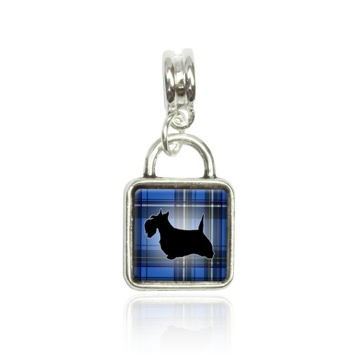 (Scottie Dog on Blue Plaid Scottish Terrier Euro European Italian Style Bracelet Bead Sqr Charm)