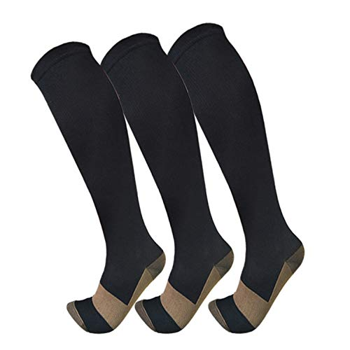 Copper Compression Socks For Men & Women(3 Pairs)- Best For Running,Athletic,Medical,Pregnancy and Travel -15-20mmHg (S/M, Black) ()