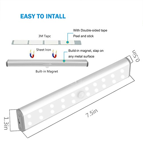 Magnetic Battery Light, LED Closet Lights Rechargeable Battery Operated, Motion Sensor Wireless Under Cabinet Lighting, 20 LEDs Super Bright Night Light, Build-in Magnetic Light Bar Stick-on Anyw by Cefrank (Image #4)