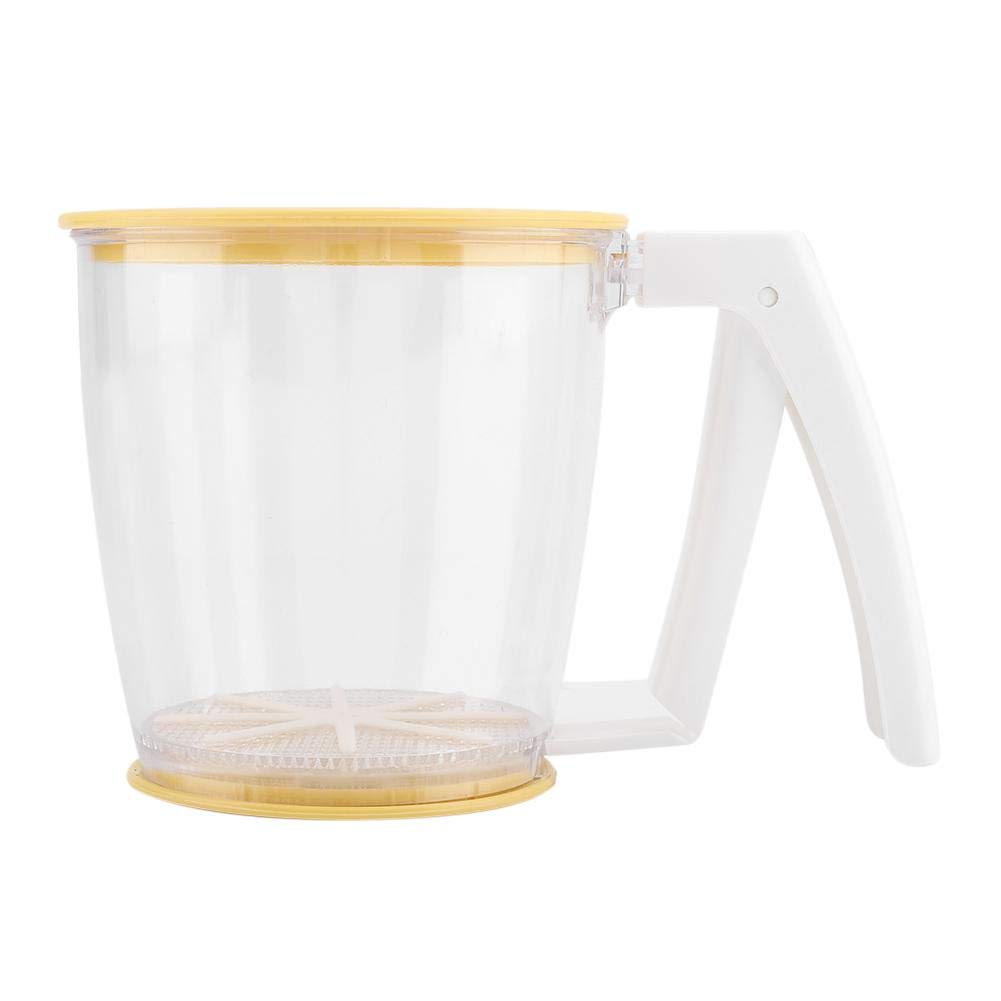 Cikonielf Flour Sifter Hand-held Mechanical Strainer Cup Powder Mesh Sieve for Kitchen Baking with Lid and Bottom Cover by Cikonielf