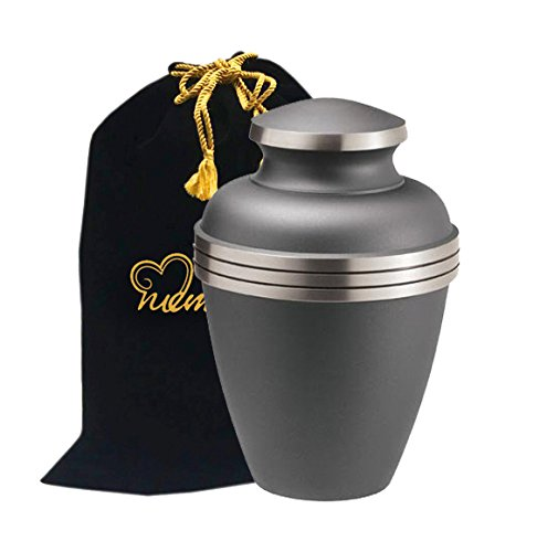 MEMORIALS 4U Ashen Pewter Cremation Urn - Brass Urn for Human Ashes - Large Pewter Urn - Handcrafted Affordable Urn for Ashes - Adult Urn with Free ()