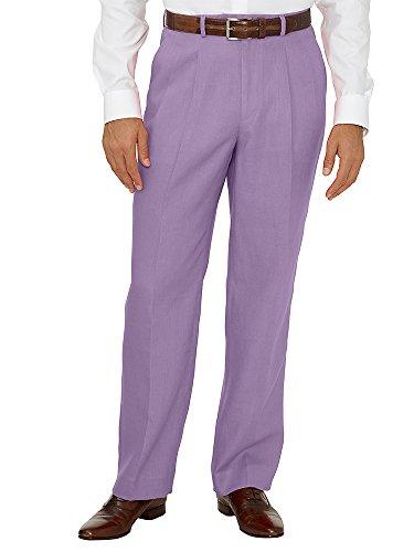 Linen Pleated Pants Lavender 38 ()