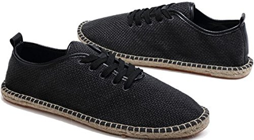 Satuki Zapatos De Lona Para Hombres, Casual Classic Lace Up Soft Athletic Mocasines Planos Ligeros Zapatillas De Moda Negro