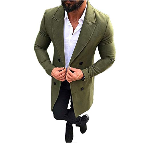 Mens Long Double Breasted Trench Coat Gentlemen Formal Wear Jacket Overcoat Outfits Pea Coats (Green, M)