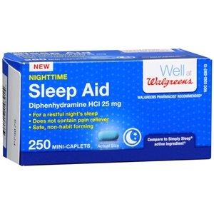 Walgreens Nighttime Sleep Aid Mini-Caplets 250 ea