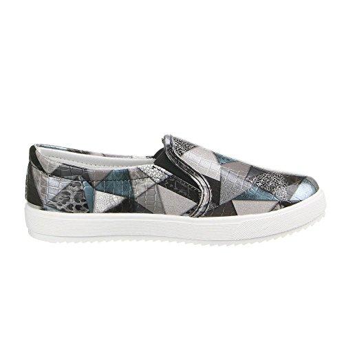 Ital-Design Damen Schuhe, LB930-1, Halbschuhe Slipper Schwarz Multi W-33-