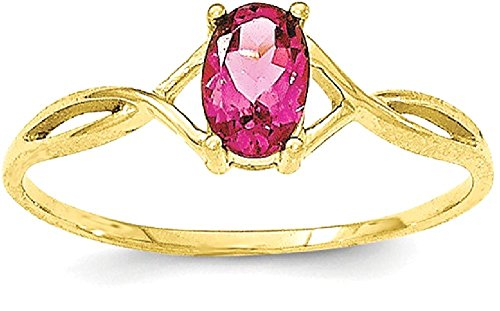 ICE CARATS 10k Yellow Gold Pink Tourmaline Birthstone Band Ring Size 7.00 Stone October Oval Style Fine Jewelry Gift Set For Women (Style Pink Ice Ring)