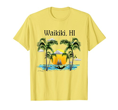 Sunset Yellow T-shirt - Waikiki Hawaii Beach Sunset T-Shirt