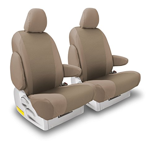 FRONT SEATS: ShearComfort Custom OEM Seat Covers for Nissan Titan (2005-2009) in Tan for Buckets w/Inner Arms and Adjustable Headrests and Passenger Fold Flat Seat (SE, LE, and Pro-4X Models)