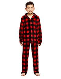 Boys 2 Piece Pajama Set | Long-Sleeve Button-Down Top & PJ Pants