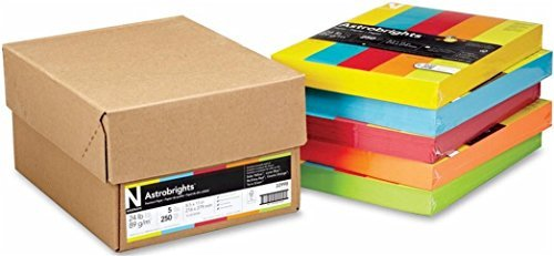 Neenah Astrobrights Assorted Colored Copy Paper Case, One 250-Pack Each Of Colors: Solar Yellow, Lunar Blue, Re-Entry Red, Cosmic Orange, Terra Green, Heavier 24lb Density, 8 1/2 x 11 Inch ()