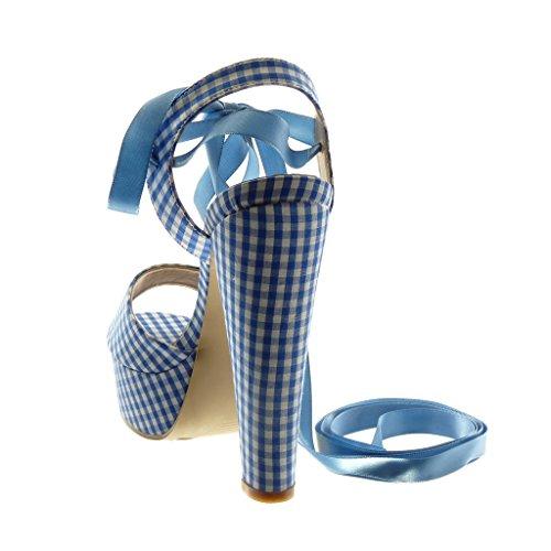 Angkorly Damen Schuhe Sandalen Pumpe - Hohe - Peep-Toe - Plateauschuhe - Vichy-Muster - Schnürsenkel Aus Satin Trichterabsatz High Heel 14.5 cm Blau