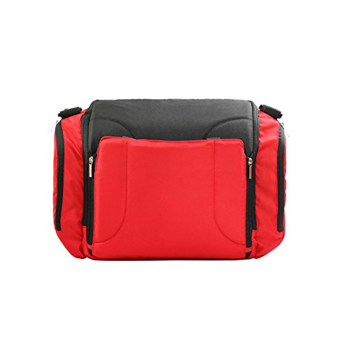 iRibbons Mummy Bag with Baby Stool Baby Eating Chair A Diaper Backpack Baby Can Sit (Red) by iRibbons