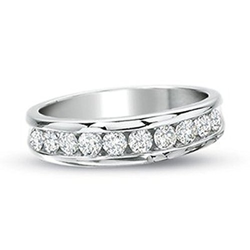 14 Kw Band - Dazzlingrock Collection 0.55 Carat (ctw) 14K Round Diamond Ladies Wedding Ring Stackable Band 1/2 CT, White Gold, Size 7.5