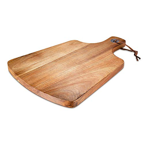 Wood CuttingBoard, Acacia Cheese Board with Handles for Pizza Peel Bread Paddle Spatula Pie, Serving Rustic Paddle Tray, Charcuterie Platter for Wine, Crackers, Brie and Meat - Small
