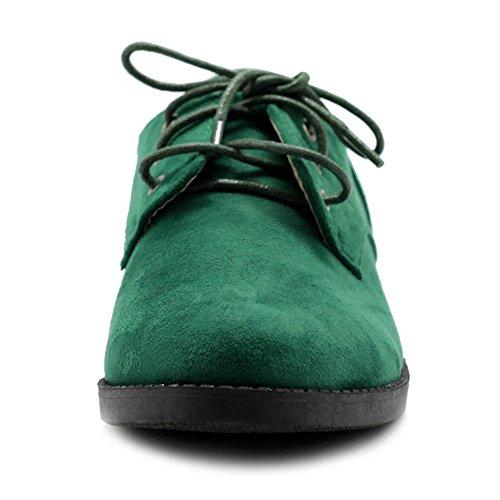 Ollio Kvinner Klassiske Flate Sko Snøring Faux Suede Oxford Grønn