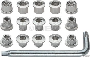 FSA Alloy Triple Chainring Bolt Kit (15 Piece, Silver) (Chainring Triple)