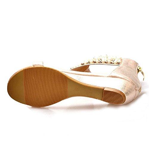 Lazutom - Sandalias de vestir de Piel Sintética para mujer dorado