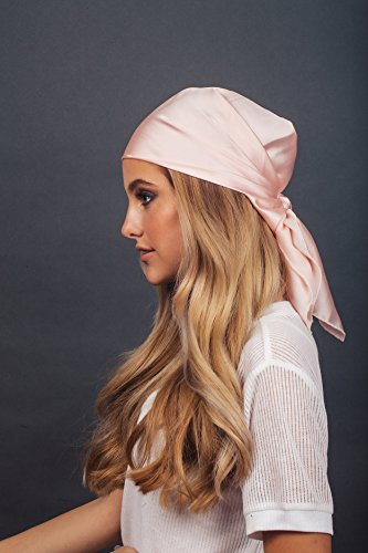 Kitsch Pro Multi-Way Satin Charmeuse Square Sleep Hair Scarf Frizz-Free Nighttime Head Cap For Women (Blush)