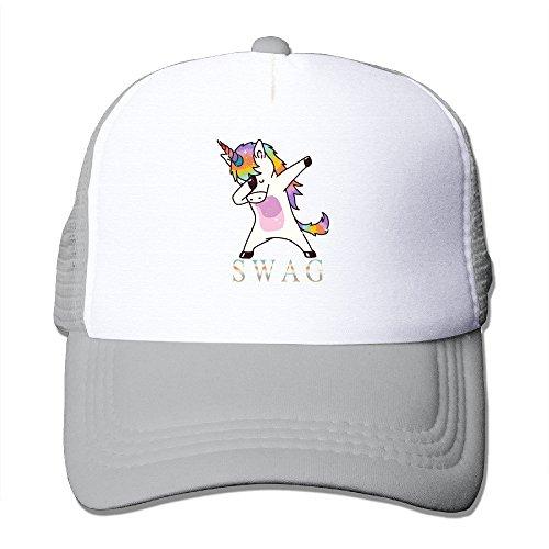 Waldeal Unisex Adult Swag Dabbing Unicorn Womens Trucker Mesh Hat Baseball Caps Ash