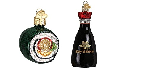 Old World Christmas Sushi Roll and Soy Sauce Glass Blown Ornaments, Sushi Party Gift